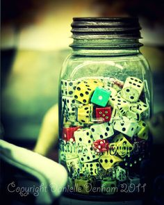 We have a similar small jar of dice. Dice in a jar--good idea for a man cave or game room Game Room Basement, Playroom, Teen Basement, Basement Ideas, Vintage Mason Jars, Game Room Decor, Vintage Games, Vintage Decor, Vintage Toys
