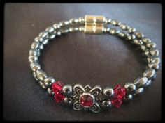 Ruby Flower Double Magnetic Bracelet $24.00