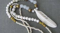 Long white feather necklace beaded bohemian by PersimmonPearl, #long boho beaded necklace, #carved white bone feather, #PersimmonPearl, #etsyfind, #chaoscurators