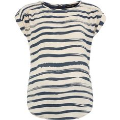 Ivory and navy stripe tee ($29) ❤ liked on Polyvore