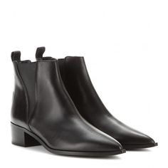 Acne Studios Jensen Leather Ankle Boots ($495) ❤ liked on Polyvore featuring shoes, boots, ankle booties, ankle boots, black, bootie boots, leather ankle booties, black leather booties, short boots and leather ankle boots