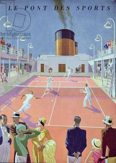 Tennis Court on the Sports Deck of the Liner 'L'Atlantique', from a Tourist Brochure, 1931 (colour litho), Hemjic, Marcel (fl.1929-42) / Bibliotheque des Arts Decoratifs, Paris, France / Archives Charmet / Bridgeman Images