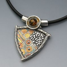 Amber Triangle Vine Collage  -  Precious Metal Clay necklace by Deb Steele