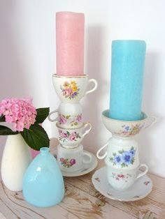 Use old tea cups for candle holders