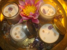 Aromatic Soy Candles and Spa Massage Candles, Lavender and Vanilla  with Amethyst and Moonstone gemstones. By La Sirene Aromatica www.lasirenenz.com