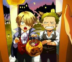 Happy Halloween, Zoro, Sanji, young, childhood, cute, outfit, vampire, wolf, candy, trick or treat; One Piece