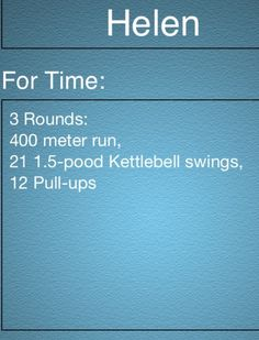 Helen - the Crossfit WOD I wanna do over and over again. http:///www.2timothy.wordpress.com