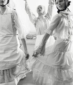 """Organized Robots"". Sasha Pivovarova, Gemma Ward and Coco Rocha by Steven Meisel for Vogue Italia March 2006"
