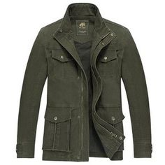 Plus Size Military Style Outdoor Solid Color Multi Pockets Stand Collar Jacket for Men Mens Fashion Blog, Best Mens Fashion, Fashion Ideas, Fashion Styles, Fashion Trends, Men's Fashion, Street Fashion, Latest Fashion, Fashion Inspiration