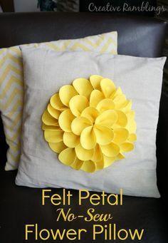 Felt petal no-sew flower pillow. Bright yellow flower. Easy DIY project.