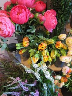 Pink peonies and parrot tulips...two of my favorites!