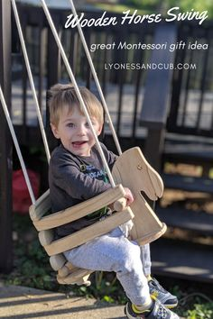 [Ad] Looking for a timeless, long lasting Montessori toy? What about this natural wood horse swing, as compared to all the plastic swings out there? We love ours, and you can use it indoors and outdoors (after staining it). Make the ropes as long as you need and fasten them with a knot under the seat. Ours hung under the back deck and provided hours of joy. You get what you pay for! Horse Swing, Wood Swing, Fall Over, Wooden Horse, Back Deck, Montessori Toys, Ropes, Swings, Go Outside