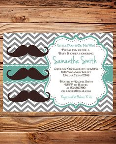 Baby  shower Invitation boy, Mustache Boy Shower,  Little Man, Brown, Gray, Chevron Stripes Mustache Baby Boy Shower, Printable. $18.00, via Etsy.