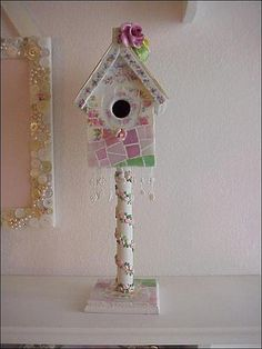 china mosaic baby birdhouse garden path by Enchanted Rose Studio, via Flickr