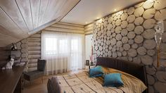 Interior of a wooden house Wooden House, Modern Design, Dining Room, House Design, Curtains, Contemporary, Interior Design, Bed, Furniture