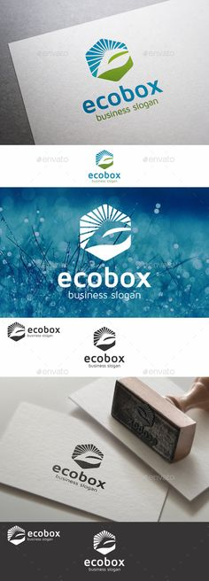 """Nature Plant - Eco Box logo - An excellent logo template highly suitable for nature themes, as well as eco-friendly and consulting businesses. Simple and elegant identity logo illustration that symbolizes the impression of green, peaceful, clean, and natural. Combining visualization of """"leaf"""" , """"sunshine"""" and cube into a memorable icon. The logo is suitable for various companies."""