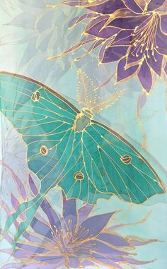 Floral Summer Scarf, Mint Chiffon Scarf, Handpainted Scarf, Mint Green Luna Moth with Purple and Gold Princess of the Night, Made to order Wallpaper Backgrounds, Iphone Wallpaper, Colorful Backgrounds, Silk Art, Butterfly Wallpaper, Pretty Wallpapers, Fabric Painting, Pattern Wallpaper, Flower Art