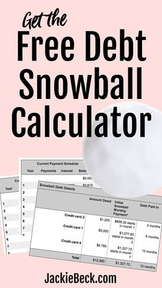 This free debt snowball calculator is a snap to use! See how quickly you can become debt free & more! Debt Snowball Spreadsheet, Debt Snowball Calculator, Debt Snowball Worksheet, Budget Spreadsheet, Debt Repayment, Debt Payoff, Debt Consolidation, Money Tips, Money Saving Tips