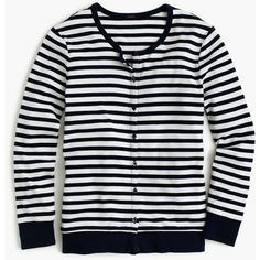 J.Crew Perfect-Fit Striped Cardigan ($55) ❤ liked on Polyvore featuring tops, cardigans, j crew cardigan, cardigan top, stripe top, striped top and stripe cardigan