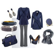 Dark blue with dark gray .. so pretty together, created by shauna-rogers.polyvore.com