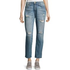 Current/Elliott The Fling Distressed Cropped Ankle Jeans (970.060 IDR) ❤ liked on Polyvore featuring jeans, loved, ankle zipper jeans, distressed straight-leg jeans, distressed ankle jeans, ripped blue jeans and ripped jeans