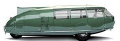 THE DYMAXION CAR: In 1933 Buckminster Fuller created prototypes of a sleek, aerodynamic car which seated eleven passengers, had excellent fuel efficiency, and could travel at 120 miles per hour.