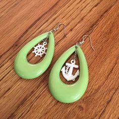 "Nautical Dangle Earrings Green and white dangle earrings. Approx 2.25"" Lowest price, bundle for discount. Jewelry Earrings"