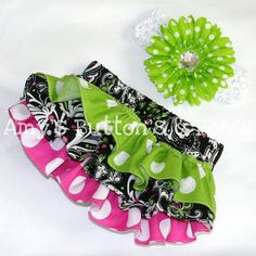 Hot pink lime white and black flower/polka dot ruffle by amwoo254, $36.00