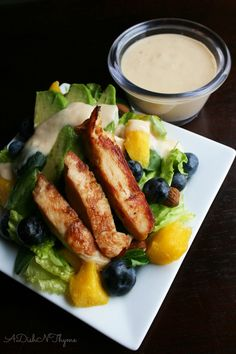 Your going to love this quick meal. Mango Tango Chicken Salad with Tropical Tahini Dressing. More please!