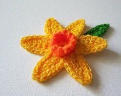Crochet Applique Daffodil Flowers  Crochet by CraftsbySigita