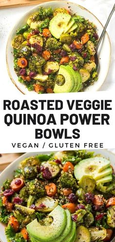Roasted Vegetable #Quinoa Power #Bowls are perfect for #lunch, #dinner or #mealprep! They are packed with nutrients and are loaded with flavor. These bowls include roasted vegetables, quinoa and a simple maple balsamic dressing. Lunch Bowl Recipe, Lunch Recipes, Easy Dinner Recipes, Healthy Recipes, Easy Dinners, Salad Recipes, Roasted Vegetable Recipes, Grilled Vegetables, Veggies