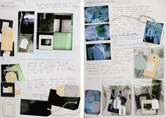 This highly accomplished and creative photography sketchbook layout is part of a project that explores the transient nature of human existence. Different films, cameras, approaches and formats are used, as well as sculptural elements (negatives and other items are inside plastic bags attached to the page). With items arranged on slight angles, the work takes on an off-kilter, landed-where-it-fell appearance, however, this is deceiving: the page is skilfully and purposefully composed, with…