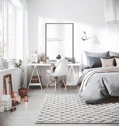 Gravity Home: Bedroom with workspace in a Scandinavian apartment - Interior Decor Interior Design Inspiration, Home Interior Design, Design Ideas, Design Trends, Luxury Interior, Bedroom Inspiration, Design Design, Modern Design, Design Basics