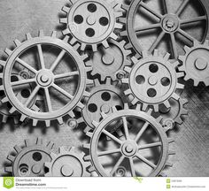 gears vintage | Clockwork Gears And Cogs Metal Background Royalty Free Stock…