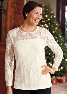 Check out this elegant Stretch #Lace Top from Norm Thompson for $49.95!