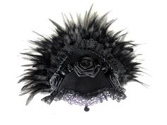 Selfmade Goth french hood headdress in black with feathers and roses. Available at my stores: http://www.etsy.com/shop/NinielChan www.deaddollsshop.de