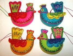Vintage BUCILLA (4) Calling Birds, EXOTIC BIRDS Felt Sequined & Beaded Ornaments, Free Shipping!