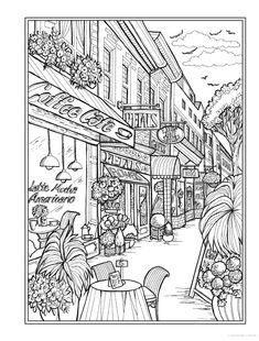 Creative Haven Main Street Coloring Book