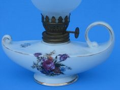 $15-Vintage Oil Lamp with Porcelain Base and Glass Globe by cyndeevs