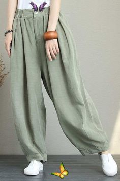 CASUAL WIDE LEG LINEN PANTS WOMEN LOOSE TROUSERS Q1290<br> Linen Pants Women, Wide Leg Linen Pants, Trousers Women, Pants For Women, Clothes For Women, Cropped Trousers, Wide Leg Trousers, Modest Fashion, Fashion Outfits
