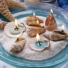 Centerpiece for the beach dinner table.