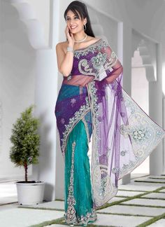 Turquoise And Purple Lehenga Style Saree