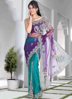Turquoise And Purple Lehenga Style Saree