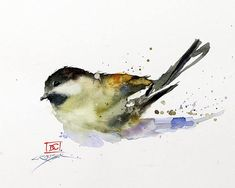 CHICKADEE signed and numbered limited edition giclee print from an original watercolor painting by Dean Crouser (original has been sold). This print is available in a variety of sizes and is horizontal/landscape orientation (wider than tall). Limited edition giclee print, signed and