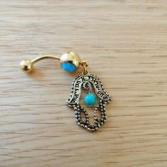 Gold Hamsa Hand Belly Button Ring Brand New! 14 Gauge Surgical Steel. 25% off bundles! Ships quickly :) Reasonable offers accepted :) Jewelry Rings