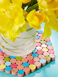 Collect wine corks to make this colorful DIY trivet. Get instructions here:  http://www.bhg.com/holidays/mothers-day/gifts/mothers-day-gift-ideas/?socsrc=bhgpin040813corktrivet=4