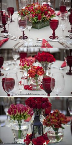 Ruby Red and white with gorgeous floral centerpiece Red Wedding Decorations, Table Decorations, Red Centerpieces, Red Wedding Flowers, Wedding Colours, Wedding Table Settings, Arte Floral, Table Flowers, Wedding Welcome