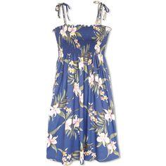 Bamboo Orchid Blue Moonkiss Hawaiian Dress   #hawaiiandress #floraldress