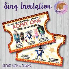 Sing Movie Party Sing Invitation Sing Invite Sing Birthday