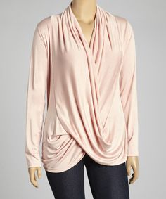 Look what I found on #zulily! Peach Tulip Drape Top - Plus #zulilyfinds